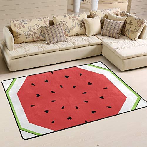 XiangHeFu Fußmatte, quadratisch, Wassermelonen-Motiv, 91,4 x 61 cm, weich, für Wohnzimmer, Schlafzimmer, Küche, Dekoration, Gesponnenes Polyester, Image 120, 36x24 Inches