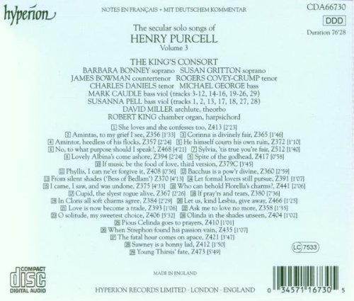 Henry Purcell : Secular Solo Songs, volume 3