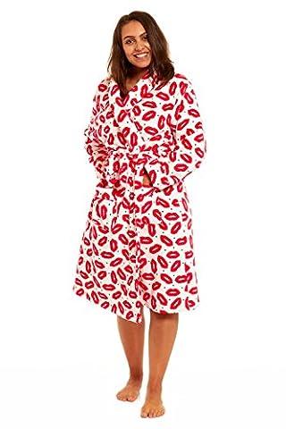 Womens/Ladies Nightwear/Sleepwear Coral Fleece Love Lip Long Sleeve Bathrobe With