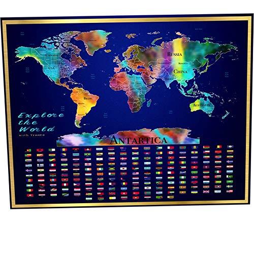 Aquarell-Karte der Welt zum Kratzen - Große Deluxe-Karte 23,4 x 33 cm mit uns, kann UK und aus Ländern/Regionen umrissen, über 180 Flaggen, perfektes Geschenk für Reisende und Kinder