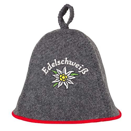Schöne Anfänge Haar-produkte (Saunahut EDELSCHWEISS auch PERSONALIESIERBAR Saunakappe Saunamütze Sauna Filz Kappe Lustige Hüte (Grau ohne Namen))