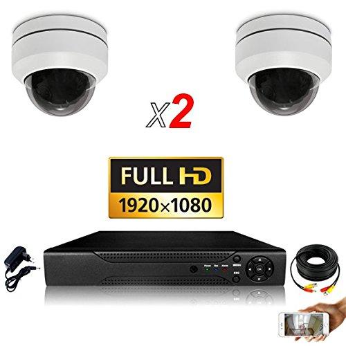 Videoüberwachungsset 2 motorisierte PTZ Zoom X4-1000 GB inkl. 2 Kabel mit 20 m Länge inklusive, ohne Bildschirm, DVR AHD 8 8 Wege - Dvr Mit Ptz
