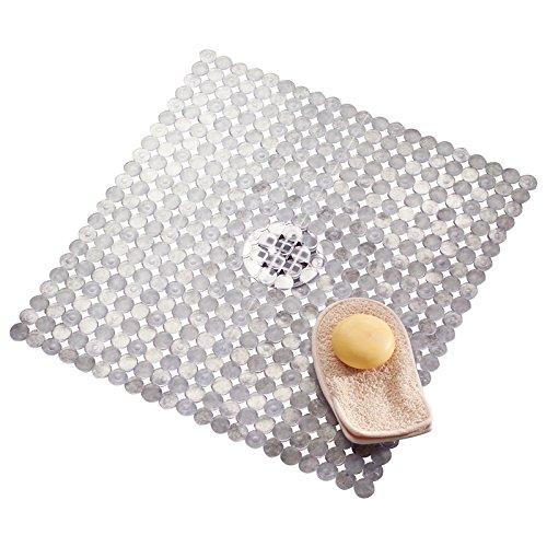 Mdesign tappetino doccia con fondo antiscivolo – accessori da bagno per doccia – fissaggio a ventosa – tappeto antiscivolo in plastica – base forata – trasparente