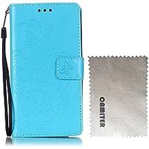 Samsung Galaxy Note 4 Funda , Camiter azul claro Diseño de mariposa en relieve Cover Carcasa Con Flip Case TPU Gel Silicona,Cierre Magnético,Billetera con Tapa para Tarjetas para Samsung Galaxy Note 4 + Paño de limpieza gratuito