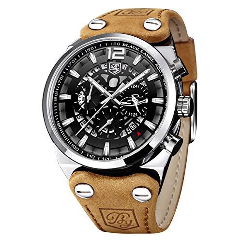 BY BENYAR - Militärchronograph für Männer | Army Watch | Skeleton Dial | Quarzwerk | 30M wasser- und kratzfest | Perfektes Geschenk für jeden Anlass Verfügbar in mehreren Farbbändern