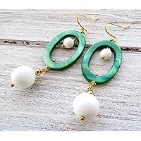 c95773f2bf22 Pendientes de nácar verde y agata blanca