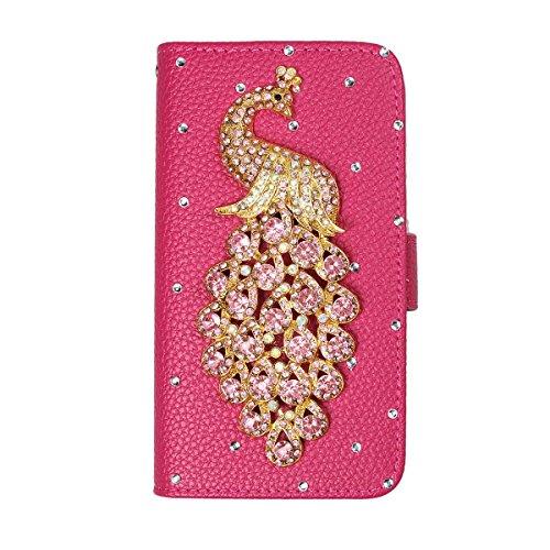 xhorizon® Auffälliger Glänzender Strass Kristall Pfau Krone DIY [Rosa-Rot] Leder Tasche Geldbeutel Stand Decke Case Hülle iPhone 5C mit einer Reinigungstuch Pink Pfau
