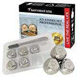 Whiskey Stones Ice Cubes by BARTENDER SOUL (8pcs) with Tongs and Freezer Tray - Non Intrusive High Quality Stainless Steel Reusable Rocks for Liquors, White Wine, Beer, Cocktails, Mineral Water