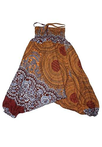 Lofbaz Kids Harem Aladdin Rose Flower Child Pants Boho Hippy Brown Size 3T