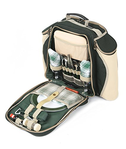 Greenfield Collection Deluxe - Mochila de picnic para dos personas, color verde bosque width=