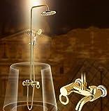 NewBorn Faucet Wasserhähne Warmes und Kaltes Wasser große Qualität der Goldene Dusche Kit antiken Dusche Titan Badezimmer Dusche mit heißem und kaltem Wasser Leitungswasser