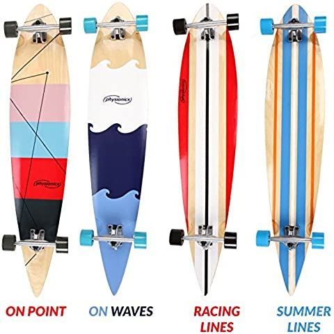 Physionics Longboard skateboard tavola 9 strati legno acero 117 cm (On Waves)
