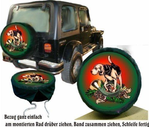 Bezug Reserverad Abdeckung Wildmotiv Jagdhorn und Hund für Suzuki (Jeep Reserverad Abdeckung Jagd)