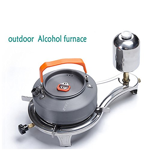 Outdoor Portable Gas Stove,Camping Gas Stove Cooker,Camping Picnic Cookout Burner ,Camping Cookware Set,Windproof cooktops,stainless steel Materials,Alcohol stove&3 major advantages(Buy one get four) , alcohol stove standard (without pot)
