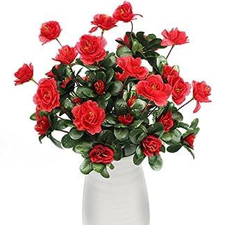 flores artificiales decoración jarrones altos 1 ramo 7 cabezas de Azalea flores jardín plantas de flores by Sanysis