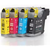 1 Set of 4 High Capacity Compatible Ink cartridges for BROTHER LC-123 BK/C/M/Y with CHIP, for Brother Printers DCP-J4110DW, MFC-J4410DW, MFC-J4510DW, MFC-J4610DW, MFC-J4710DW - LC123