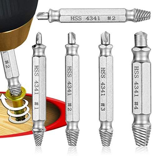 Qibaok 5 Stück Schraubenausdreher Set zum Entfernen leicht beschädigter Schrauben, Schraubenentferner zum Entfernen aller Arten, Hergestellt aus HSS 4341 Härtegrad 62-63hrc