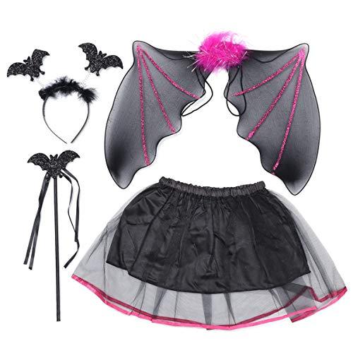 Happyyami costume da pipistrello per bambina con set di ali di pipistrello e accessori per cosplay di halloween con bacchetta magica