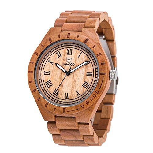 UWOOD Nizza Farbe Kirsche Holz Uhr Vintage römische Zahl Armbanduhren hölzern mit Anpassung Werkzeug