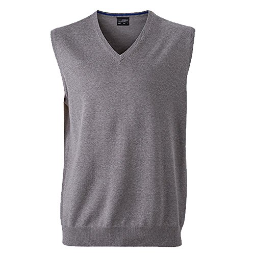 Klassischer Herren Baumwoll-Pullunder S,grey-heather (Klassische Baumwolle)