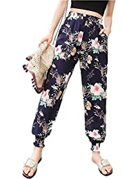Pantalones Mujer Suelto Verano Largo Playa Gasa Flores Impresas Pantalón  Harem Señoras Cintura Alta Delgado Pololos 75e428d82deb
