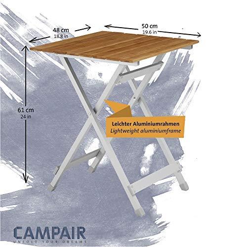 CampAir Beistelltisch mit Tragetasche – Klapptisch aus Aluminium und Bambusholz