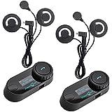 Freedconn TCOM-SC Moto Intercom Oreillette Bluetooth Casque de Moto Interphone intercom headsets avec GPS, Radio FM, Ecran LED (2 pièce avec étiquette Douce)