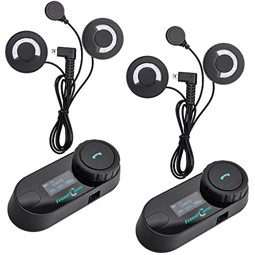 FreedConn Helm Headset, TCOM-SC Motorrad Bluetooth Gegensprechanlage LCD Bildschirm Sprechanlage Mit 800M, GPS, FM Radio (2 pcs mit weichem Kabel Kopfhörer) -