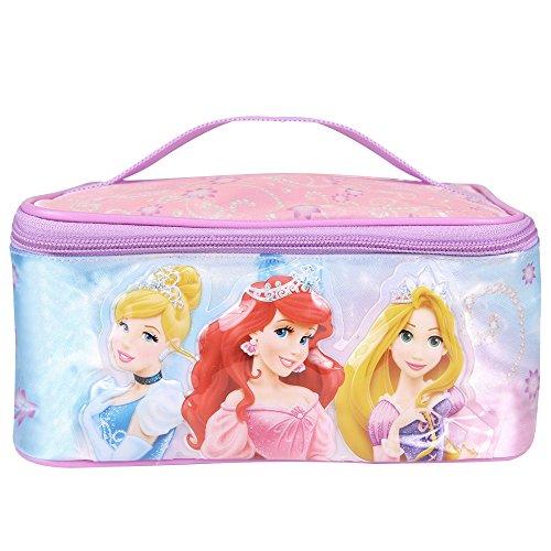 Beauty case bambina principesse disney - borsa da toilette e viaggio rettangolare con stampa ariel rapunzel cenerentola - porta tutto per accessori bagno e giochi - rosa - 21x11x14 cm - perletti