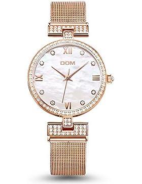 Sheli Damen Dünn Rosen-Gold Analoge Diamanten Wasserdichte Casual Armbanduhr mit Mesh-Band, 32mm