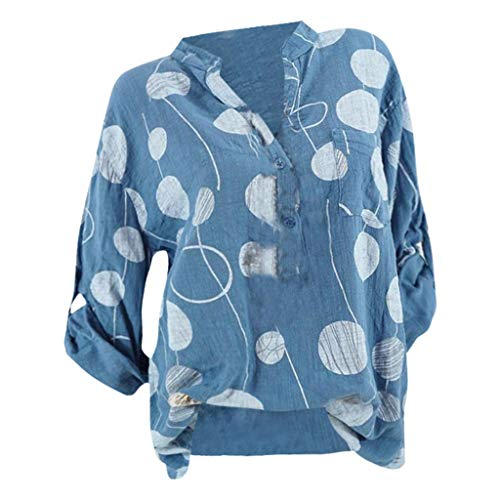 JYJM 2019 Frauen Plus Size Tops Frauen Casual Dot Print Tops Langarm Bluse Shirt Schulterfrei Langarm-Shirt Top,Damen Party Oberteil Bustier Bauchfrei Crop Tops Rot Tops Casual Rundhals Tunika ()