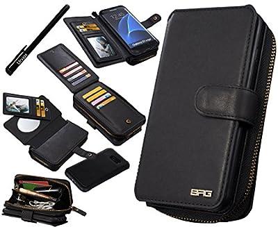 Galaxy S7Edge Étui, urvoix (TM) en cuir de haute qualité fermeture éclair Portefeuille multifonction sac à main amovible magnétique étui à rabat avec porte-cartes pour Samsung Galaxy s7edge G935
