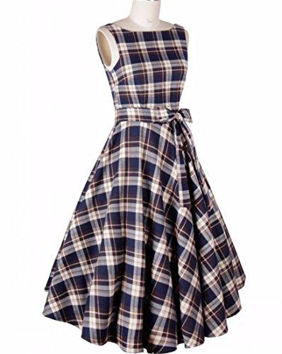 Europa Retro Damen Large Hem Boot Ausschnitt Taille Bouffant Princess Dress Blau karierten Rock