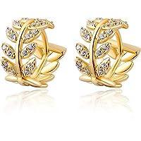 14k Gold Plated Fashion Salix Leaf Filled Diamonds Shining Charming Women Hoop Earrings