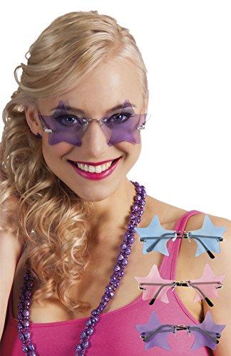erdbeerclown - Stars, Sterne Hippie Brille, Kostüm Sonnenbrille, Violett (Aloha Shirt Jungen)
