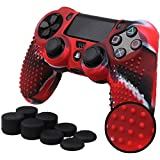 Pandaren® STUDDED silicone cover skin anti-slip for PS4/ SLIM/ PRO controller x 1(camouflage red) + FPS PRO thumb grips x 8