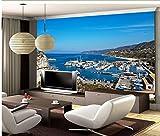 Wapel Home Dekoration 3D Individuelle Tapete Mittelmeer Golf Yachtcharter Landschaft Custom 3D Fototapete Seidenstoff 300x210CM