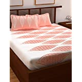 Story@Home Majestic 152 TC Cotton Double Bedsheet with 2 Pillow Covers - Abstract, Queen Size, Peach