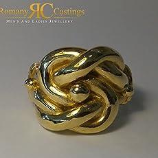 MENS 9 INCH Patterned Belcher Bracelet Sterling Silver Dipped in 9ct Gold 32g 14 x 5 mm