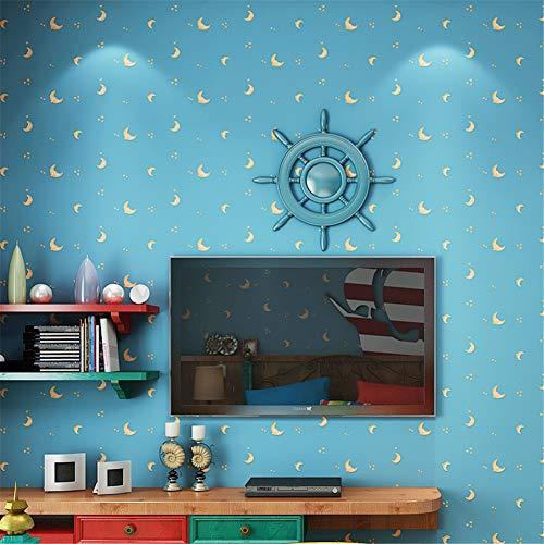 WLXZG Mittelmeer 3d Vlies Cartoon Sterne Mond Kinderzimmer Tapete Jungen Und Mädchen Schlafzimmer Kinder Bekleidungsgeschäft Tapete (Blau) -
