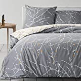 Die besten Bettbezüge - Bedsure Baumwolle Bettwäsche 135x200 cm Grau/Beige Bettbezüge mit Bewertungen