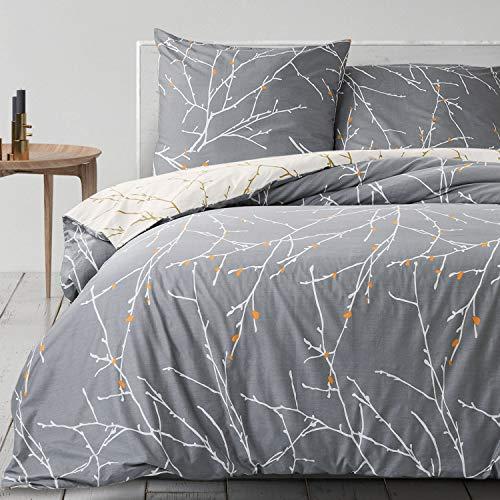 BEDSURE Baumwolle Bettwäsche 135x200 cm Grau/Beige Bettbezüge mit Schickem Zweige Muster, 2-Teilig Super Weiche Atmungsaktive Baumwollbettwäsche Set mit Reißverschluss und 80x80cm Kissenbezug