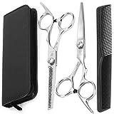 LAOYE Forbici Parrucchiere Set per Tagliare Capelli Sfoltire Forbici Barbiere in Acciaio Inox 17,5cm con Pettine Parrucchiere Professionale