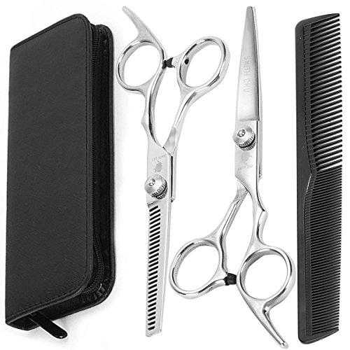 LAOYE Friseurschere Set 3 er Scherenset Haarschere Haarschneideschere Etui mit einseitiger Mikroverzahnung