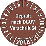 LEMAX® Prüfplakette Geprüft nach DGUV 54,2018,braun,Dokumentenfolie,Ø 30mm,18/Bogen