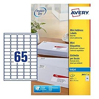 Avery Self Adhesive Mini Organising Return Address Labels, Inkjet Printers, (38.1 x 21.2 mm Labels, 65 Labels Per A4 Sheet, 25 Sheets), 1625 labels, QuickDRY (J8651)