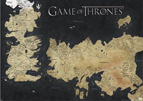 Juego De Tronos - Mapa De Westeros Y Essos, Las Tierras De Hielo Y Fuego Póster (136 x 96cm)