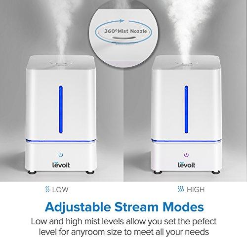 Levoit Humidificador Aromaterapia Ultrasónico 4L/ 1.1 Galones Humidificador de Niebla Difusor de Aroma/ Aceites Esenciales para Bebe  Dormitorio  Casa  Oficina  Baño  Yoga  con la Luz de la Noche