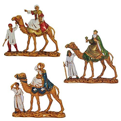 Figuras de estilo clásico de los tres Reyes Magos con camellos, diseño de Martino Landi, juego de 3 unidades, 3,5 cm