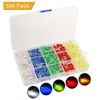 KINGSO 500pcs Diode Électroluminescente Ampoule LED Lampe Ultra-lumineux 1.8-3.6V 120 Degrés d'angle de faisceau à 5 couleurs(100 chaque couleur)